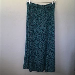 LuLaRoe Maxi Skirt Blue/Green Print, Size XL